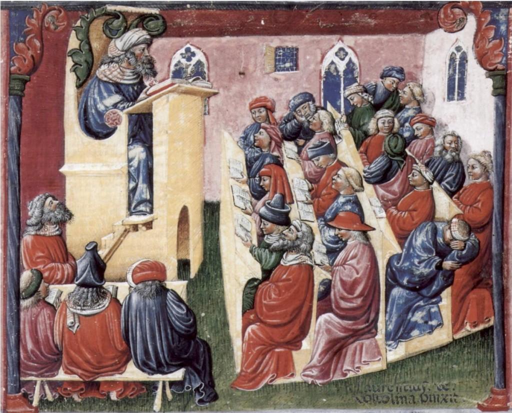 Figure 3.1.1 A medieval lecture Artist: Laurentius de Voltolina; Liber ethicorum des Henricus de Alemannia; Kupferstichkabinett SMPK, Berlin/Staatliche Museen Preussiischer Kulturbesitz, Min. 1233