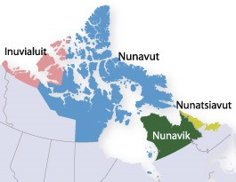 Inuit regions include Nunavut and northern Northwest Territories, Quebec, and Newfoundland.