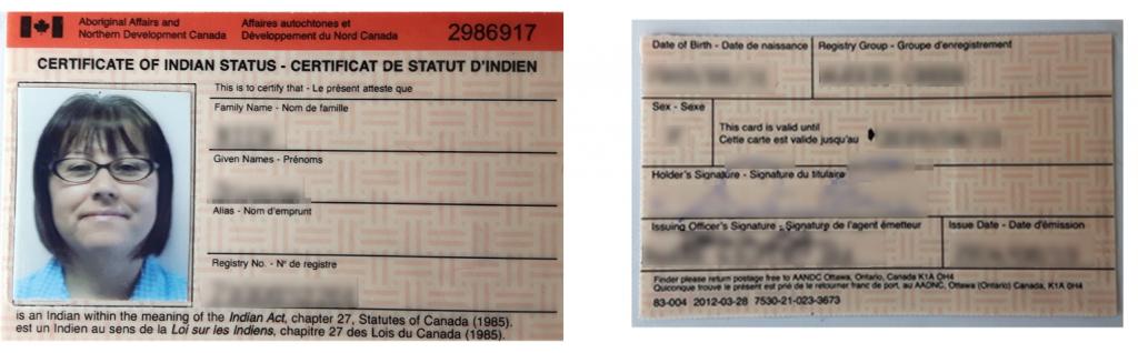 A sample Status Identity Card